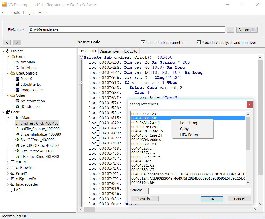 VB Decompiler - Products - Visual Basic 6 0 decompiler and