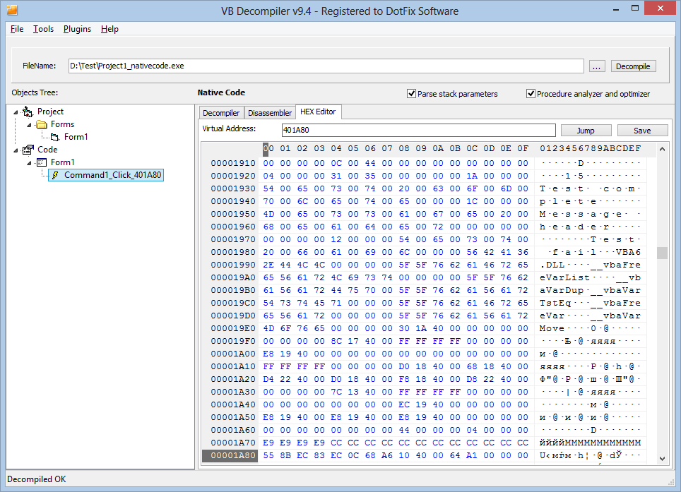 Vb Decompiler 94 - Decompiler, Disassembler, HEX Editor